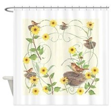 House wren and Bush sunflowers with ornament Showe