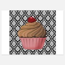 Pink Cupcake on Damask Invitations