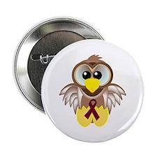 Burgundy Awareness Ribbon Owl Button