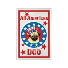 Patriotic Pug Rectangle Magnet