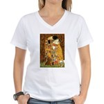 Kiss / Dachshund Women's V-Neck T-Shirt
