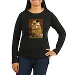 Kiss / Dachshund Women's Long Sleeve Dark T-Shirt