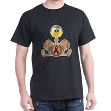 Burgundy Awareness Ribbon Ostrich T-Shirt