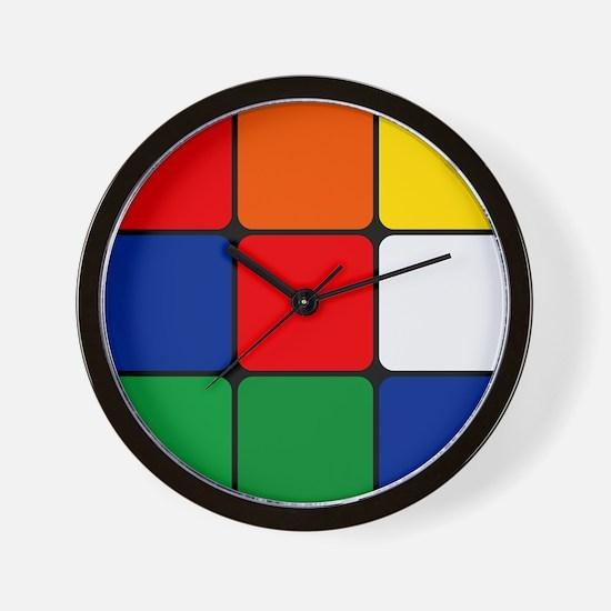 Color Blocks Cube Wall Clock