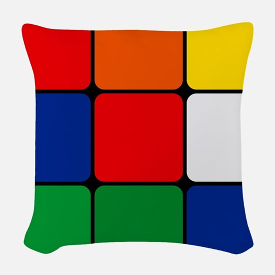Color Blocks Cube Woven Throw Pillow
