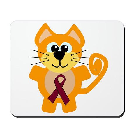 Burgundy Awareness Ribbon Kitty Cat Mousepad
