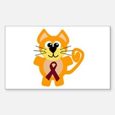 Burgundy Awareness Ribbon Kitty Cat Decal