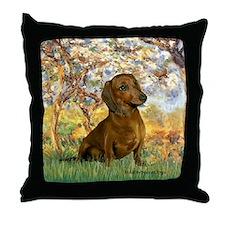Spring / Dachshund Throw Pillow
