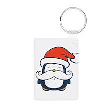 Christmas Penguin Mustache Aluminum Photo Keychain