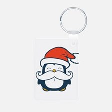 Christmas Penguin Mustache Aluminum Photo Keychain