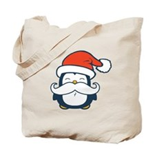 Christmas Penguin Mustache Trend Tote Bag