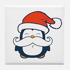 Christmas Penguin Mustache Trend Tile Coaster