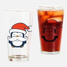 Christmas Penguin Mustache Trend Drinking Glass