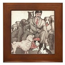 Dogs and Their Man Framed Tile