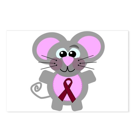 Burgundy Awareness Ribbon Mouse Postcards (Package