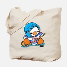 Ice Hockey Penguin Tote Bag