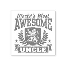 "World's Most Awesome Uncle Square Sticker 3"" x 3"""