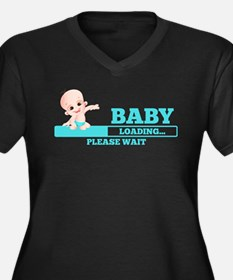 Unique Funny baby loading Women's Plus Size V-Neck Dark T-Shirt