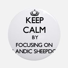 Keep calm by focusing on Icelandi Ornament (Round)