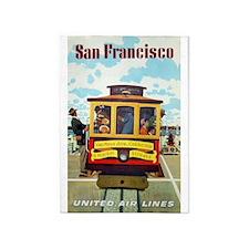 San Francisco Trolley; Vintage 5'x7'area Rug