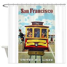 San Francisco Trolley; Vintage Poster Shower Curta