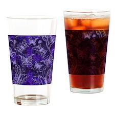 Purple Leather Look Butterflies Drinking Glass