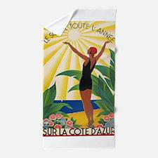 Sur La Cote d' Azur, France; Vintage Poster Beach