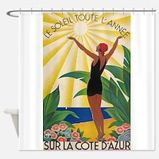 Sur La Cote d' Azur, France; Vintage Poster Shower