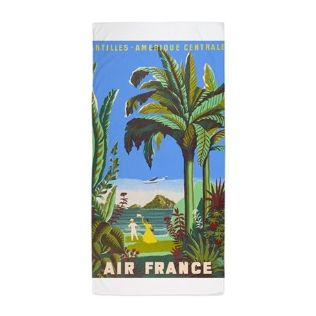 Air france vintage travel poster for antilles beac by for Air france assistance chaise roulante