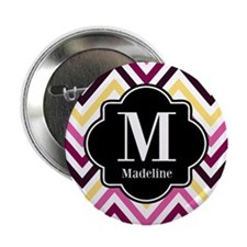 "Colorful Chevron Monogram 2.25"" Button (10 pack)"