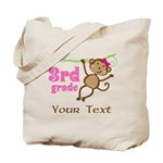 3rd Grade School Personalized Monkey Tote Bag