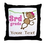 3rd Grade School Personalized Monkey Throw Pillow