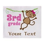 3rd Grade School Personalized Monkey Throw Blanket