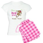 3rd Grade School Personalized Monkey Pajamas