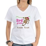 3rd Grade School Personalized Monkey T-Shirt
