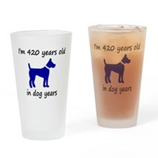 60 dog years blue dog 1C Drinking Glass