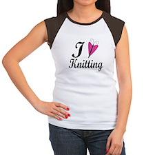 I Love Heart Knitting Women's Cap Sleeve T-Shirt
