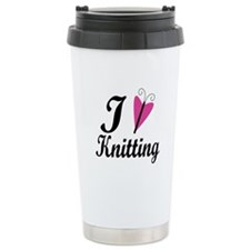 I Love Heart Knitting Travel Mug