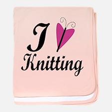 I Love Heart Knitting baby blanket