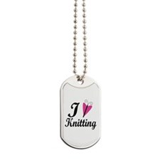 I Love Heart Knitting Dog Tags
