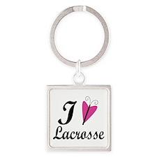 I Love Lacrosse Square Keychain