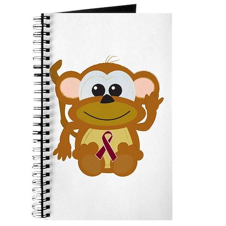 Burgundy Awareness Ribbon Monkey Journal