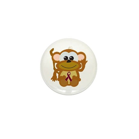 Burgundy Awareness Ribbon Monkey Mini Button (10 p