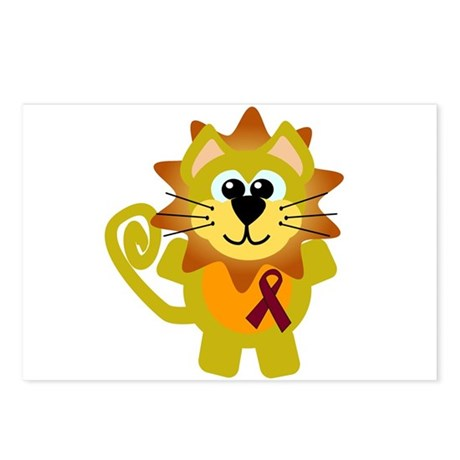 Burgundy Awareness Ribbon Lion Postcards (Package