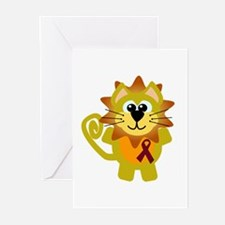 Burgundy Awareness Ribbon Lion Greeting Cards (Pac
