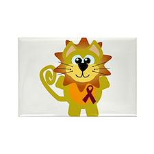 Burgundy Awareness Ribbon Lion Rectangle Magnet