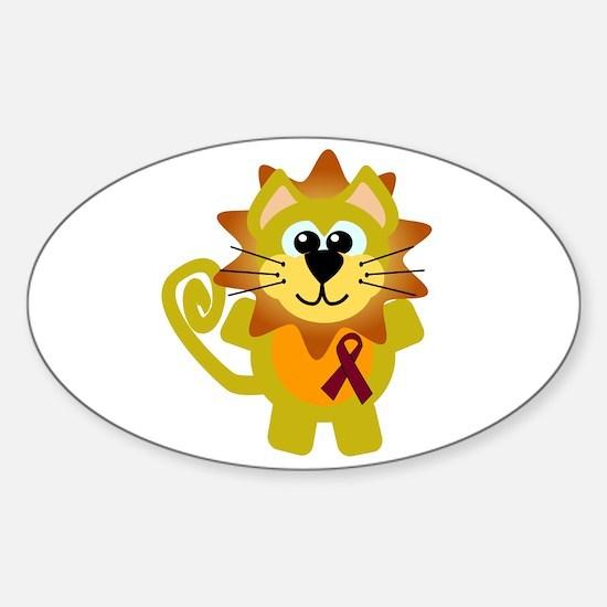 Burgundy Awareness Ribbon Lion Oval Decal