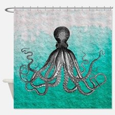 Ombre vintage nautical octopus wate Shower Curtain