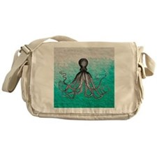 Ombre vintage nautical octopus water Messenger Bag