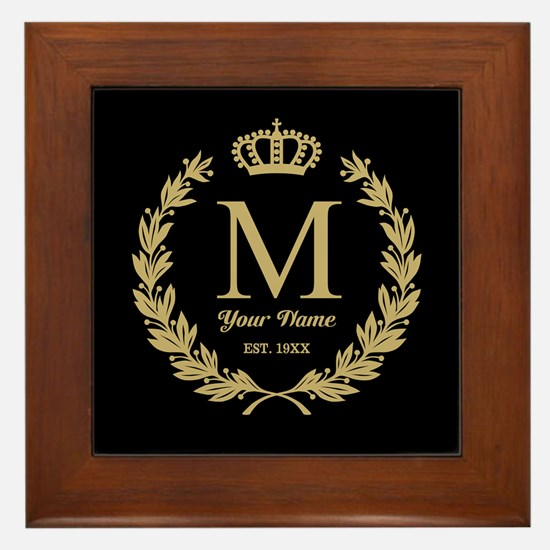Monogrammed Wreath & Crown Framed Tile
